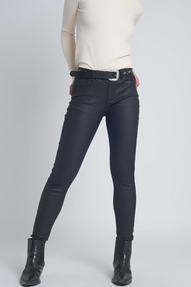 Pantalon ajusté en similicuir Noir
