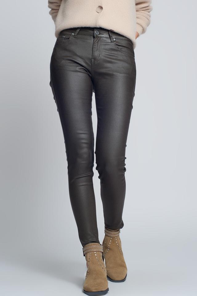 Pantalon ajusté en similicuir kaki