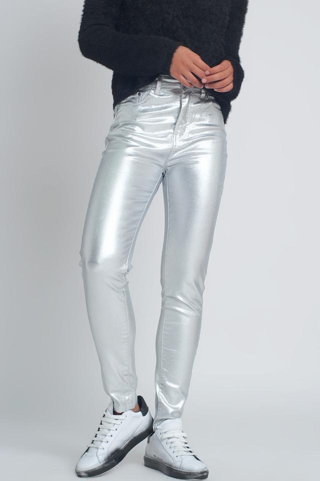 Jean skinny effet métallisé Argenté