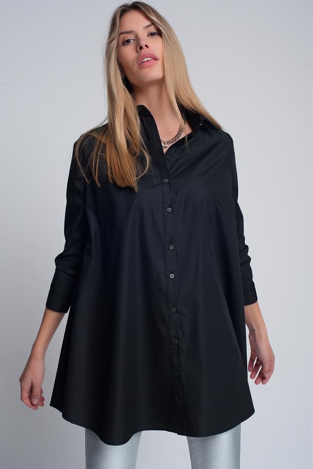 Chemise oversize popeline avec collier noir