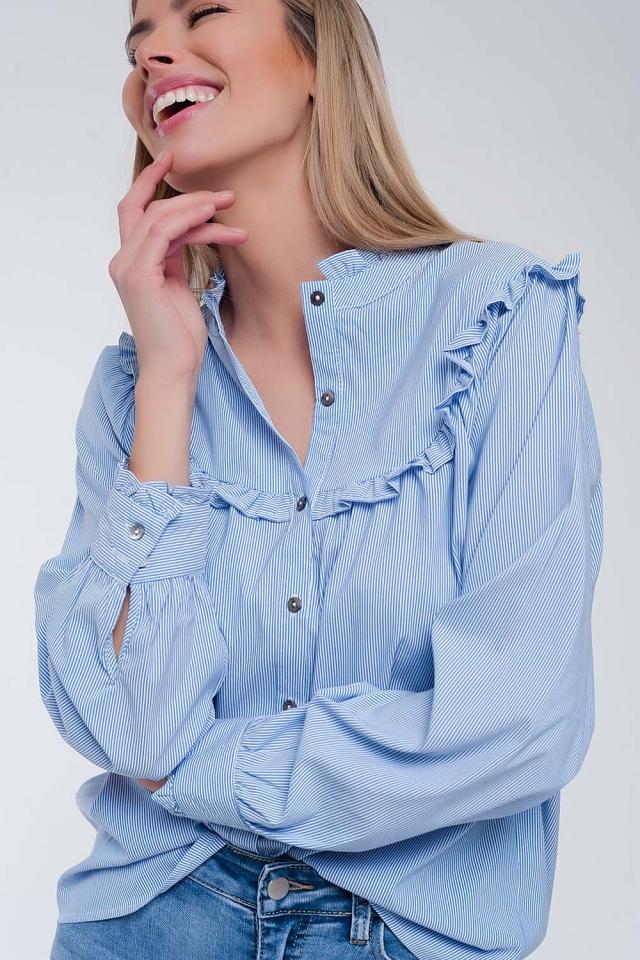 Chemise décontractée à rayures fines avec col volanté Bleu