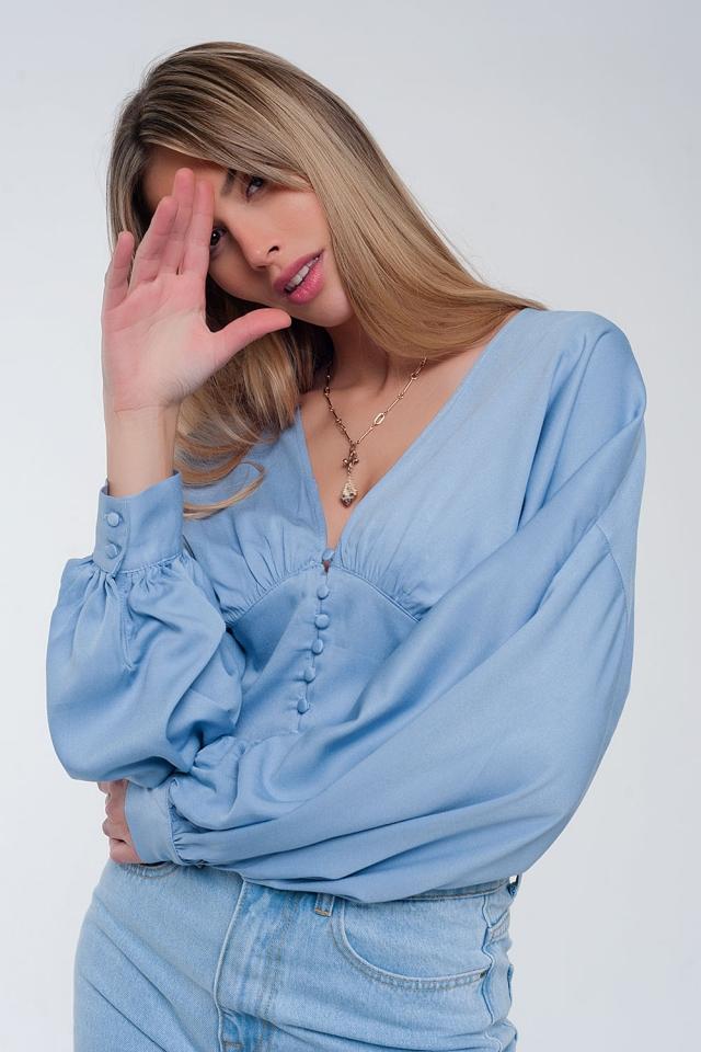 Top à manches bouffantes Bleu