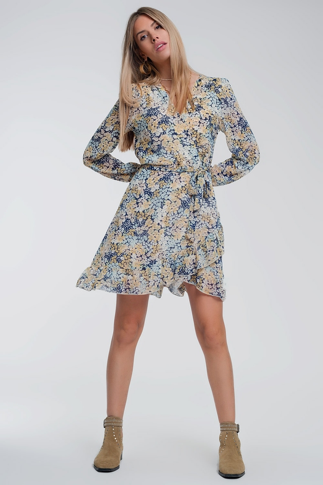 Long sleeve wrap mini dress in yellow and blue floral print