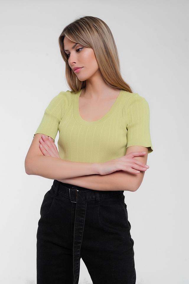 Pull à manches courtes avec encolure dégagée vert