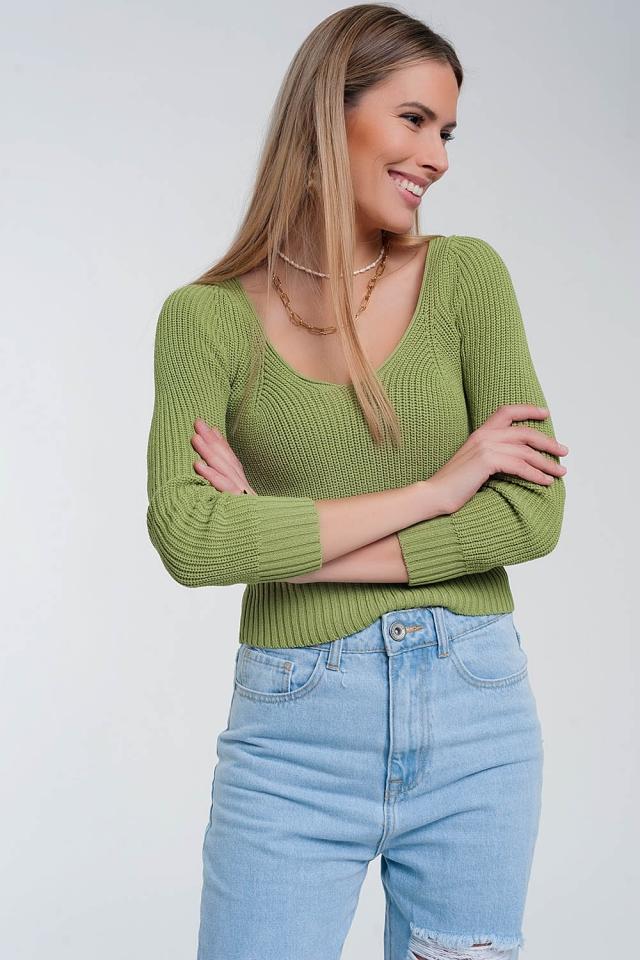 Pull en maille crochetée Vert