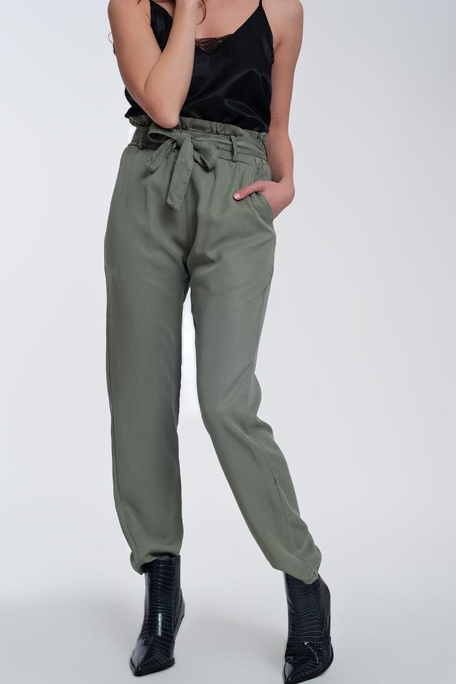 Pantalon noué à la taille Vert