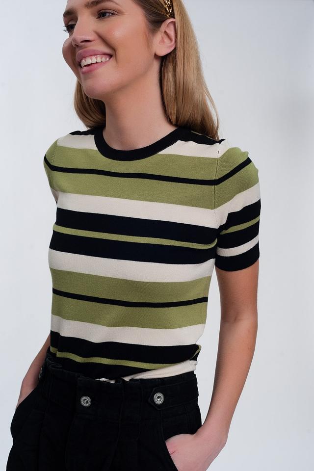 Pull ras de cou coupe carrée à rayures multicolores Vert