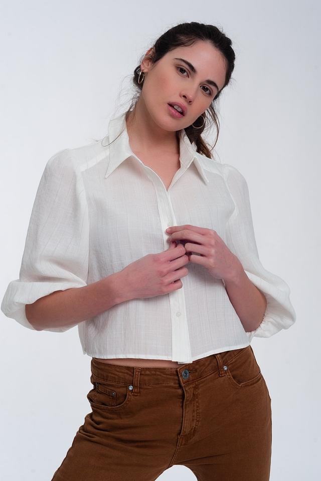 Chemise courte à manches bouffantes blanc