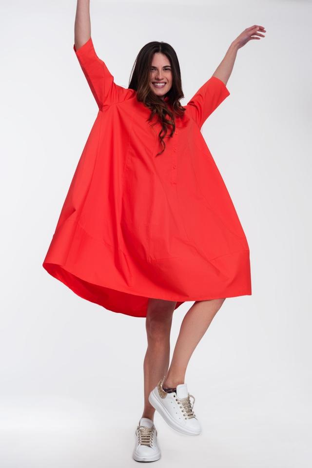 Robe chemise oversize Rouge
