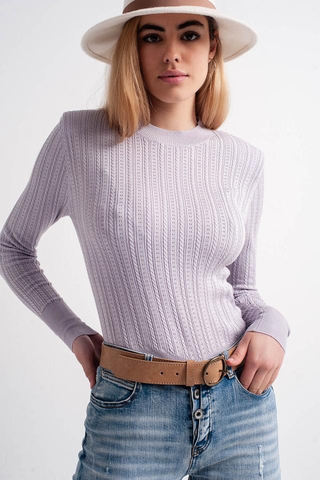 Pull à épaulettes couleur lilas