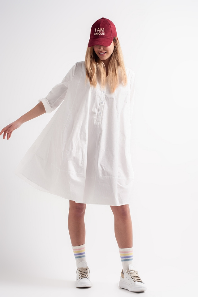 Robe babydoll oversize en popeline de coton blanche