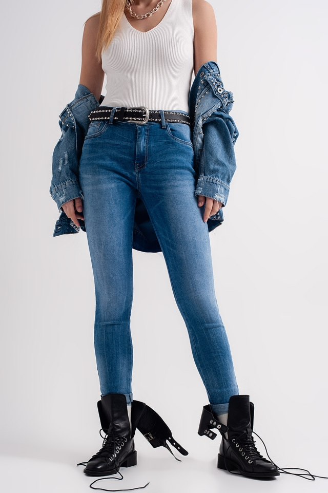 Mid wash jeans with crinkle effect