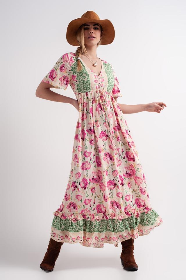 Robe babydoll longue à fleurs de couleurs vives en rose