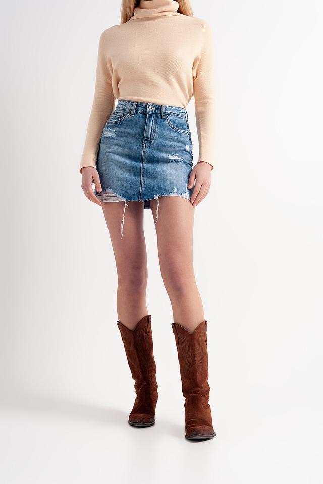Mini-jupe en jean à ourlet brut
