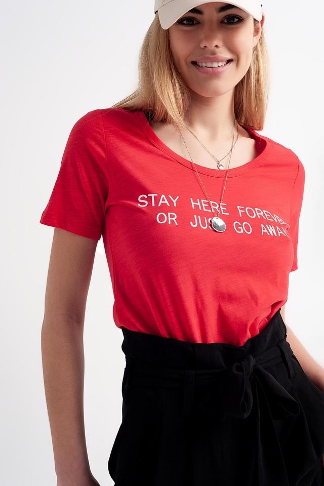 T-shirt avec imprimé sur le devant Rouge