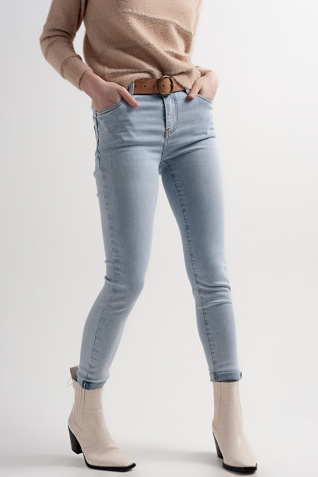 Jean skinny effet gainant et push-up Bleu
