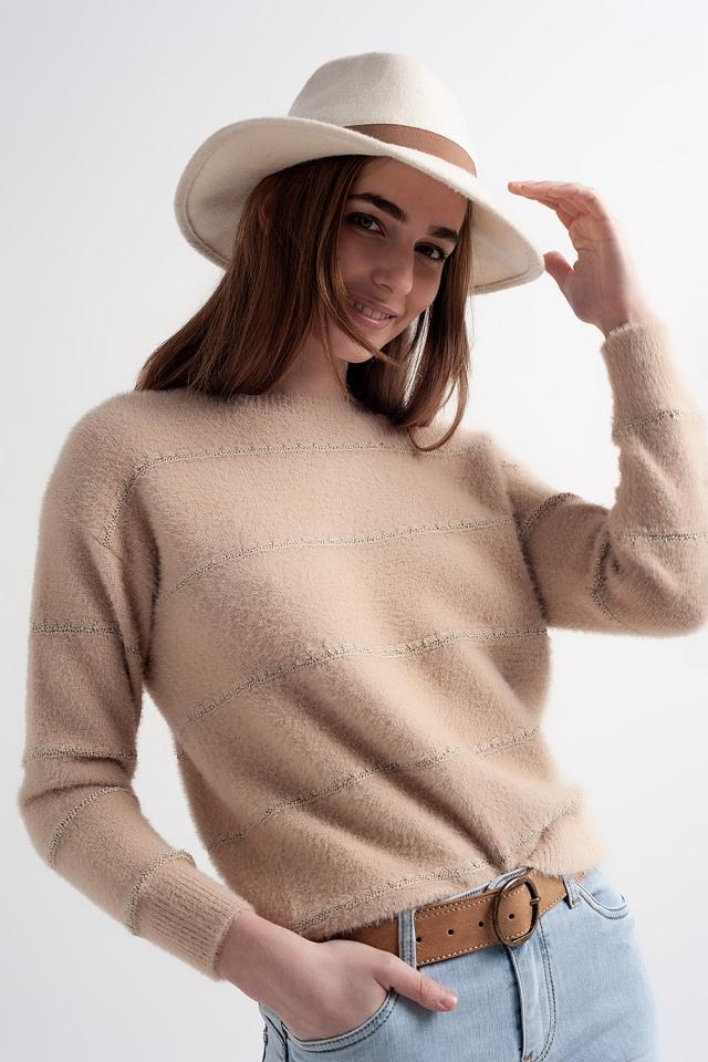 Pull en tricot pelucheux texturé à torsion beige
