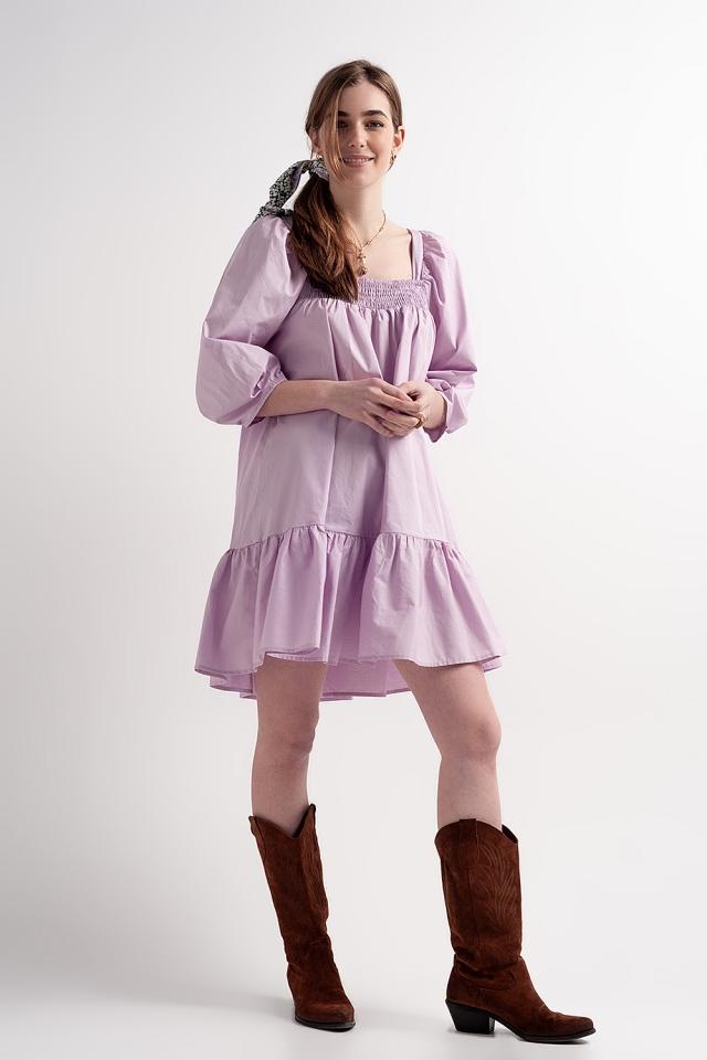 Robe babydoll courte en popeline de coton avec ourlet à basque en violet