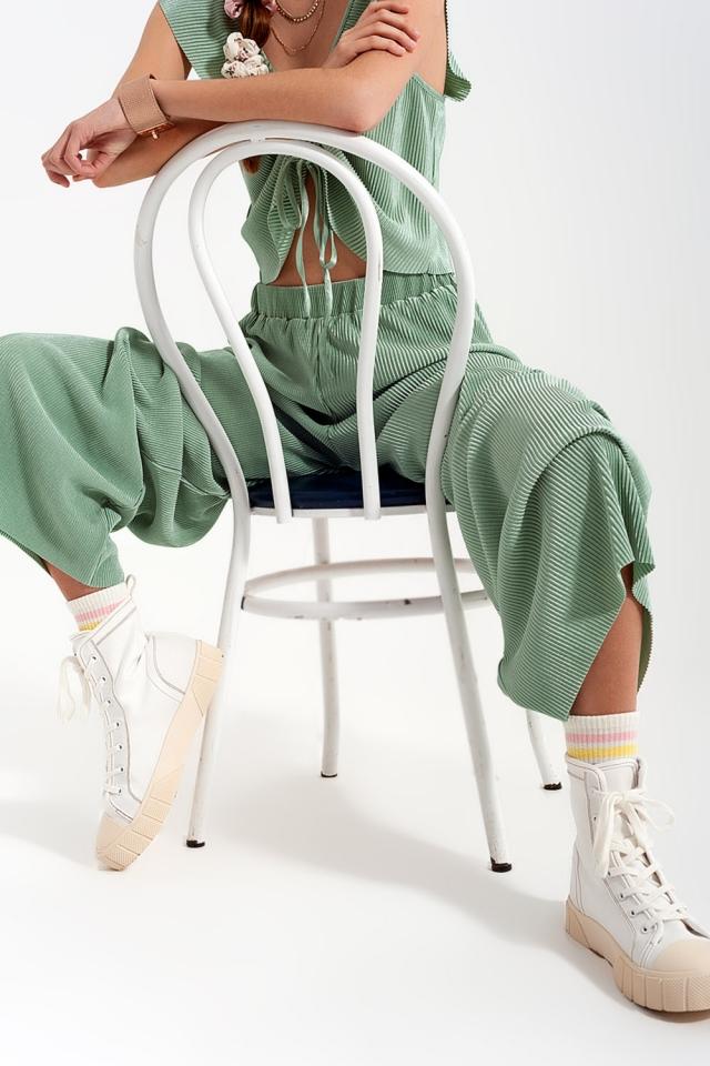 Turquoise pantalon plissé style jupe-culotte