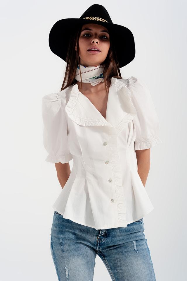 Blusa avvolgente in popeline con volant colore blanche