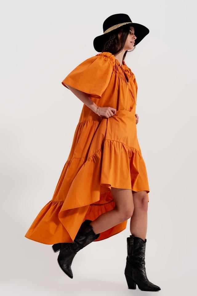 Robe babydoll mi-longue en popeline de coton à volants orange
