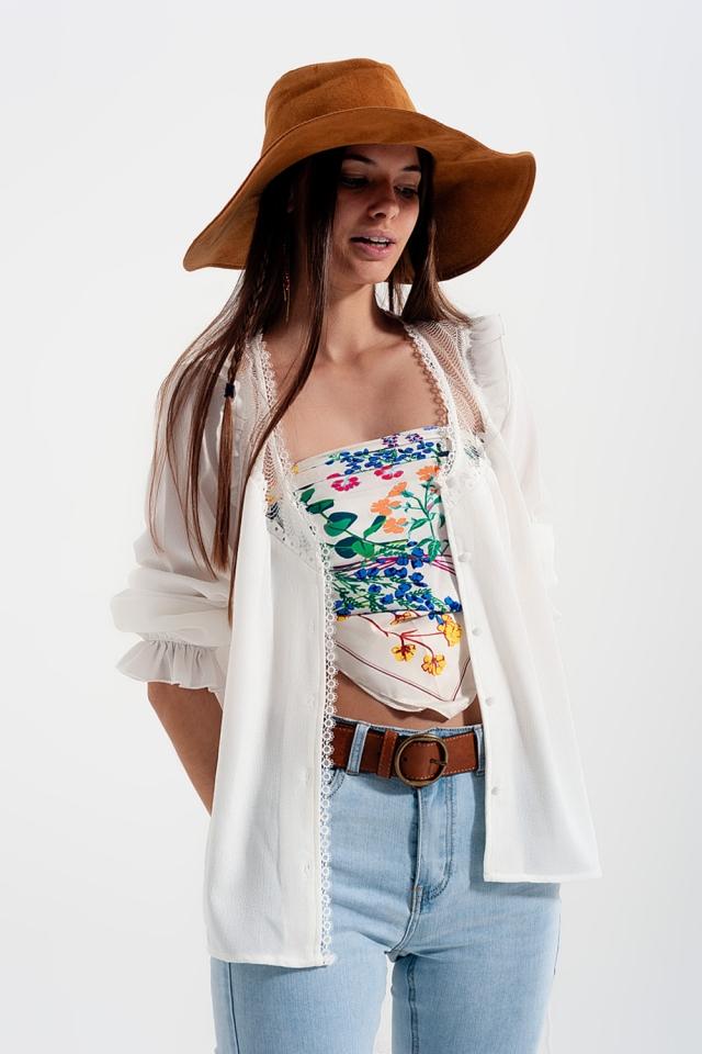 Chemise avec empiècements en dentelle en blanc