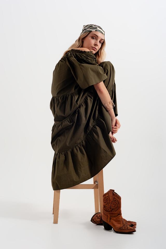 Robe long en popeline de coton à volants verte