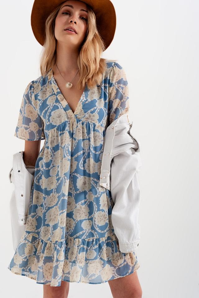 Robe babydoll courte et bleues imprimé fleuri