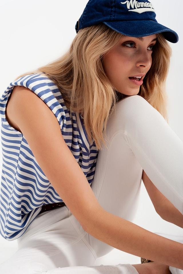 T-shirt sans manches à rayures avec épaulettes bleu