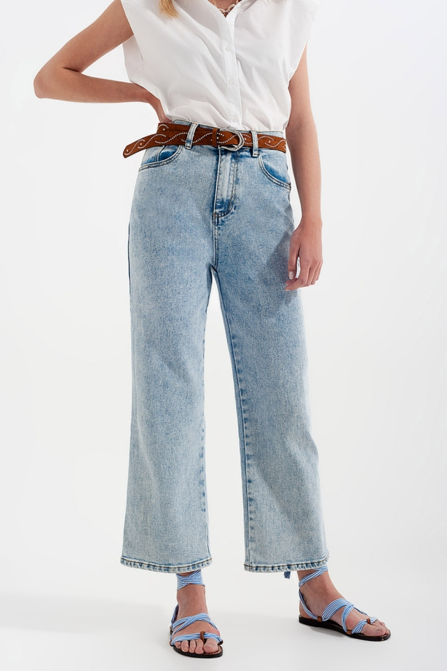 Jean large taille haute - Délavage à l'eau de javel