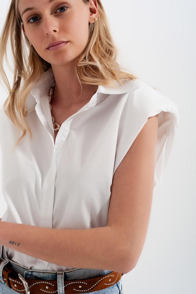 Chemise boutonnée Débardeur à épaulettes en Blanc