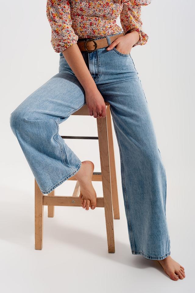 Jean droit large à taille haute bleu clair