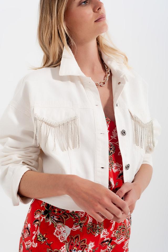 Veste blanc en jean à franges ornées de strass
