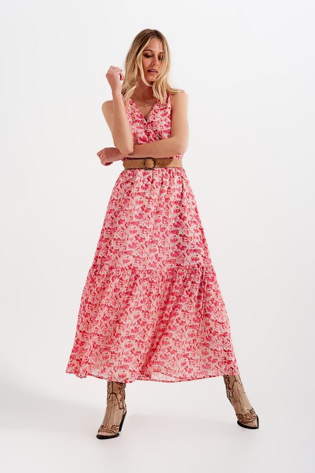 Robe longue sans manches à petites fleurs en rose
