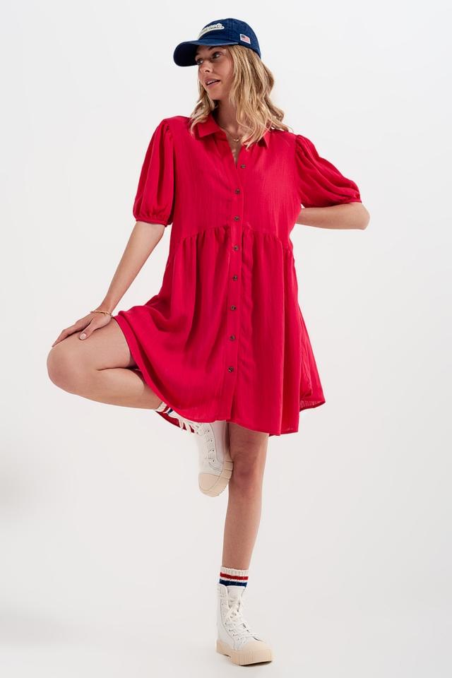 Robe chemise courte style babydoll Rouge