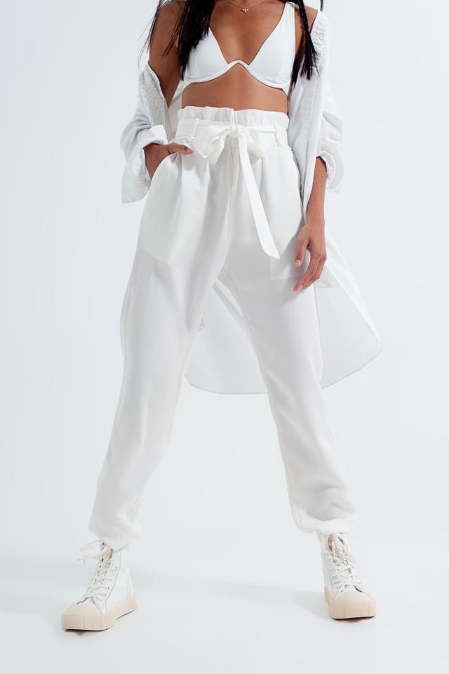 Pantalon Léger noué à la taille blanc