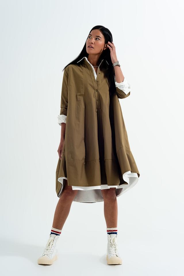 Robe chemise popeline oversize kaki
