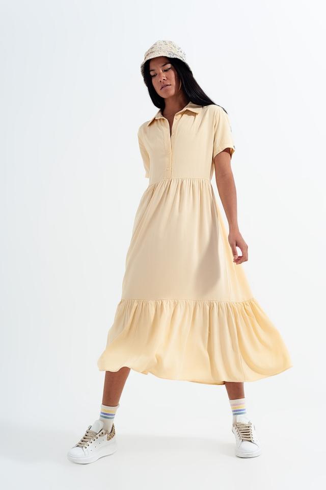 Robe chemise à ourlet étagé jaune