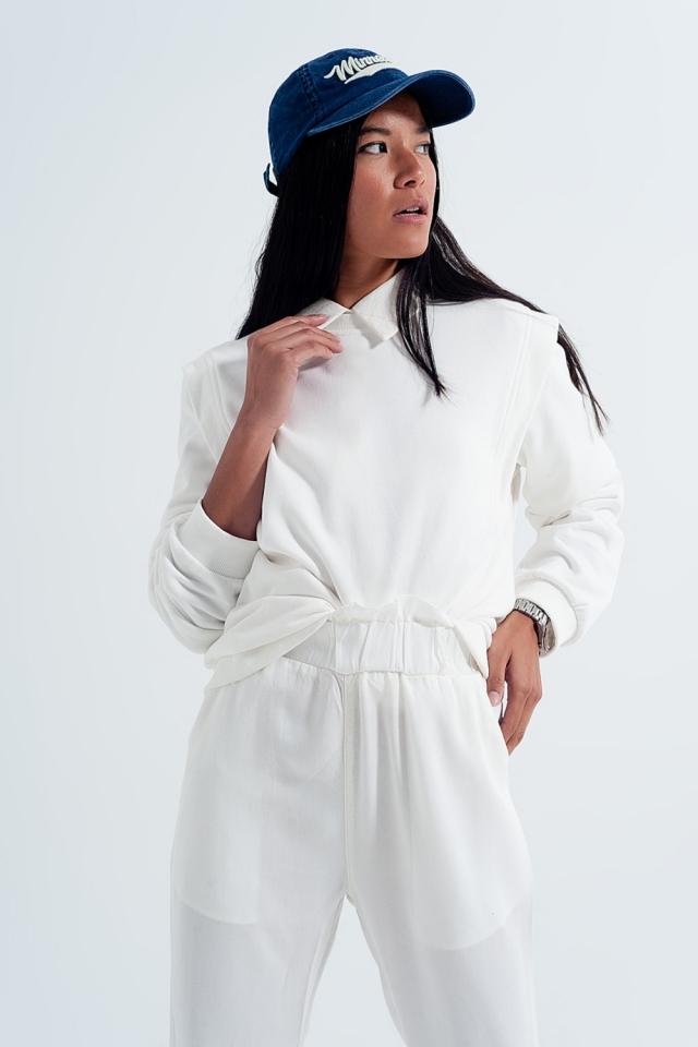 Sweat shirt boyfriend avec détails aux épaules en blanc