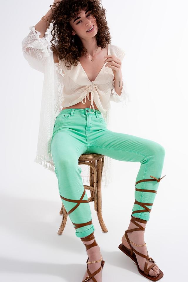 Jean skinny taille haute en vert pistache