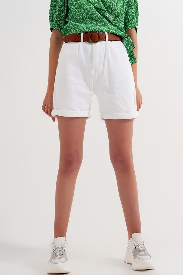 Short taille haute Blanc délavé