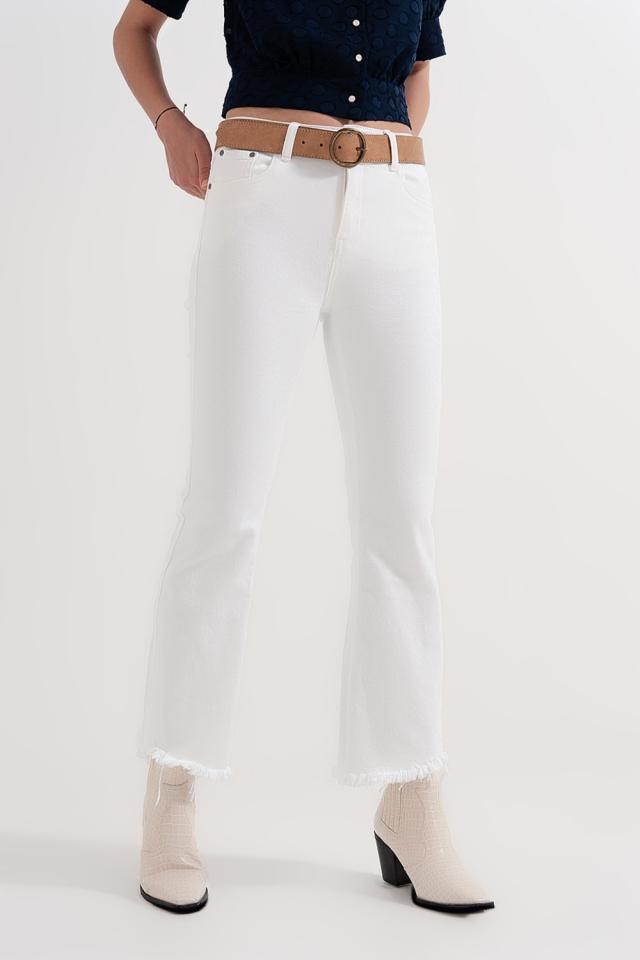 Pantalon droit en blanc à larges chevilles