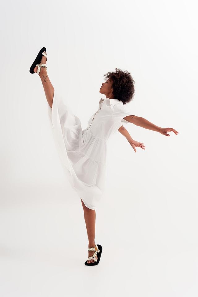 Robe chemise blanche à manches courtes en popeline