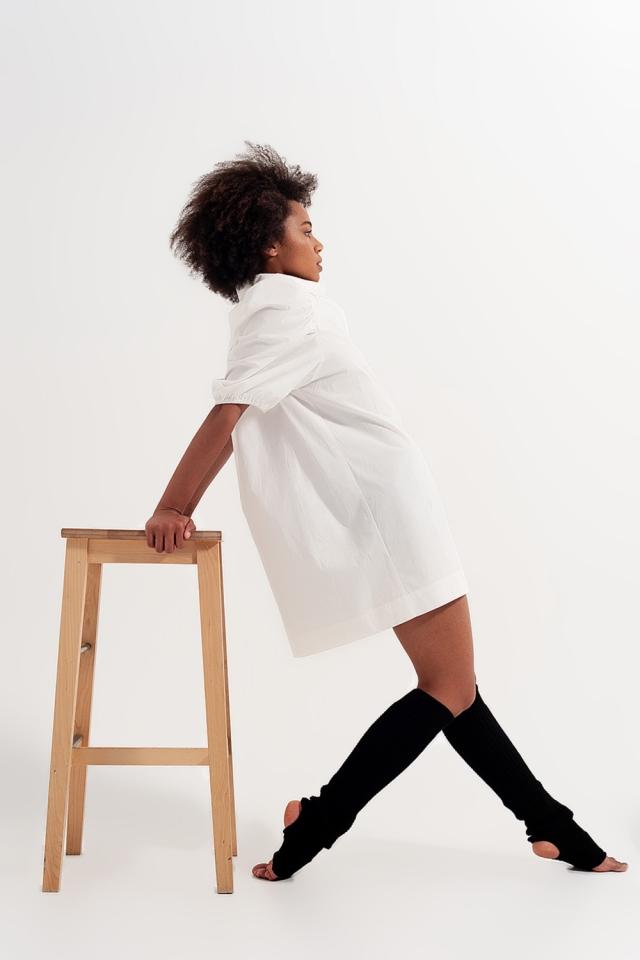Robe chemise courte à manches bouffantes Blanc