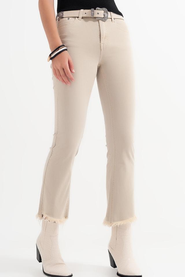 Pantalon droit en beige à larges chevilles