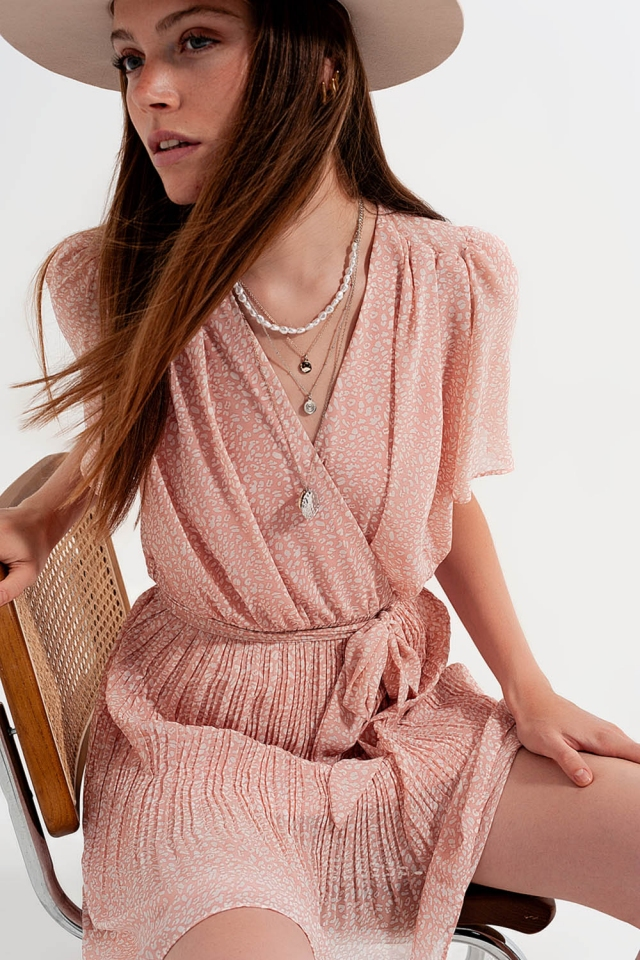 Robe portefeuille Léopard rose