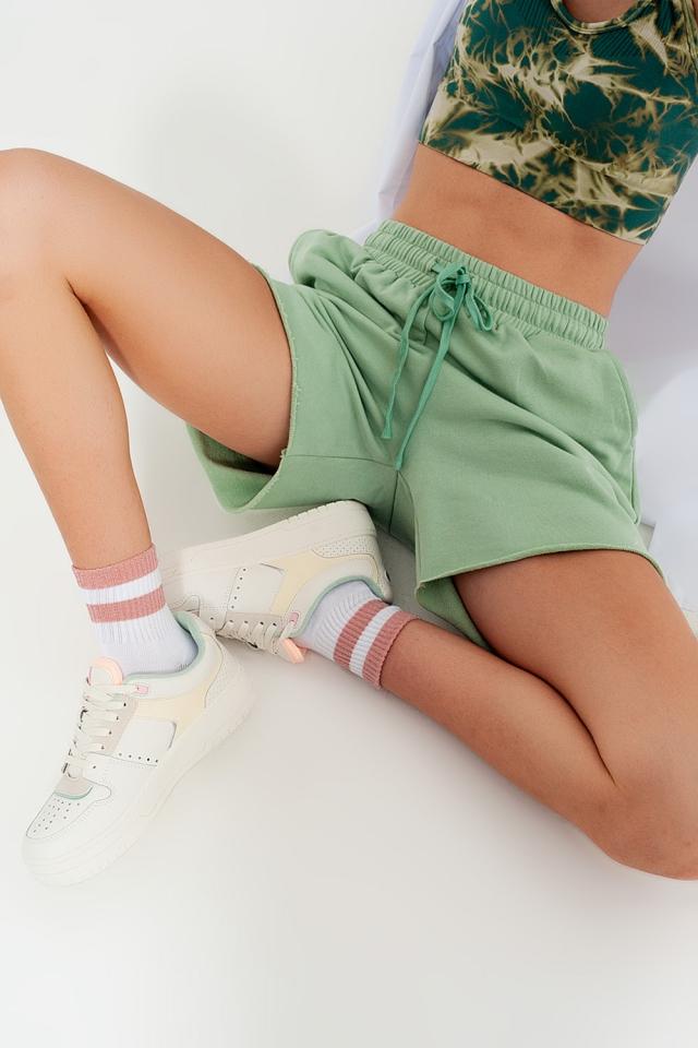 Short slim court en jersey Vert