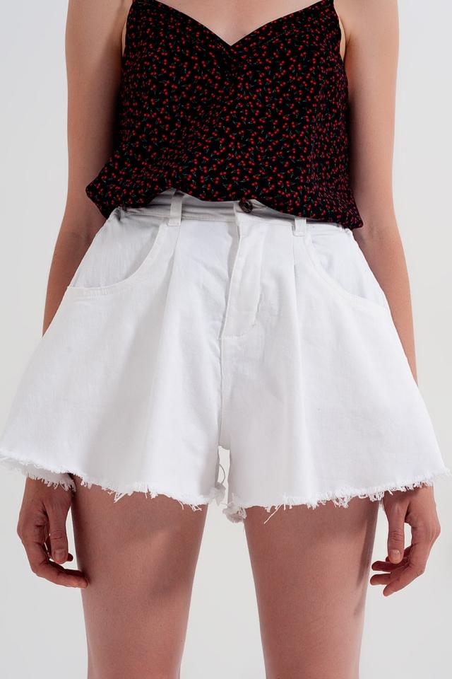 Short en jean trapèze déchiré - Blanc