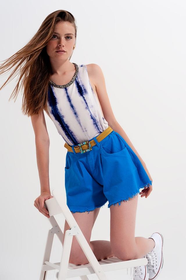 Short en jean trapèze déchiré bleue