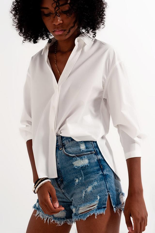 Chemise avec col à revers Blanc